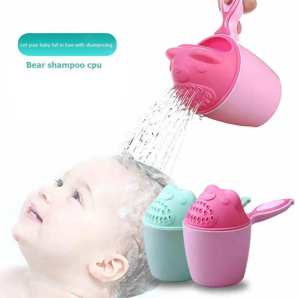 Cute Cartoon Bear Baby Bathing Cup Practical Water Ladle Bathing Cup For Baby Care Newborn Kids Shower Shampoo Cups
