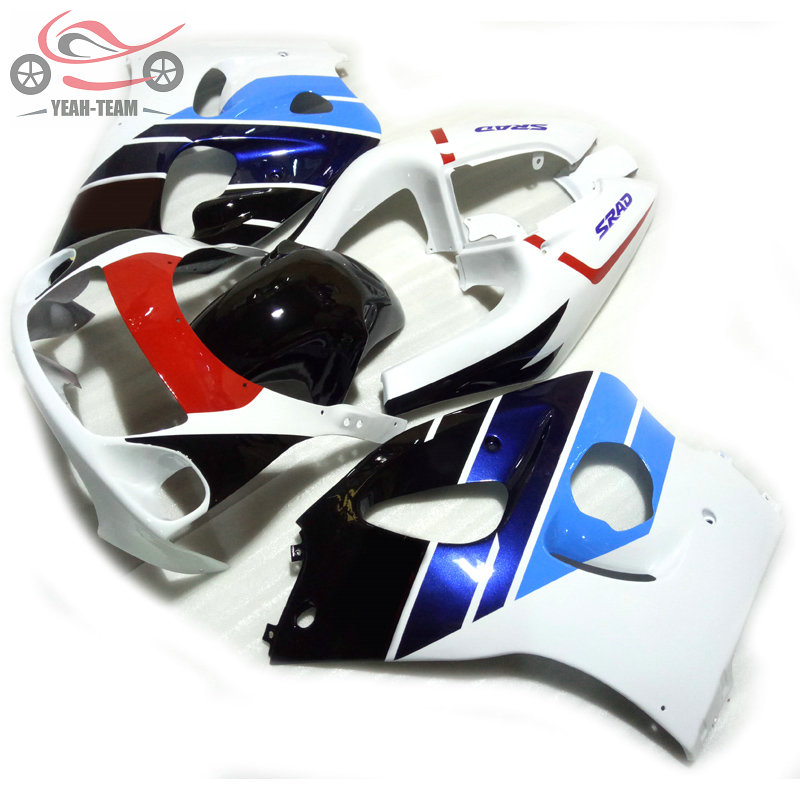 Набор обтекателей для мотоциклов, для Suzuki 1996, 1998, 2000, GSXR750, SRAD, GSXR, 600, 750, 96-00, белый, синий, ABS, Китайский Комплект обтекателя корпуса