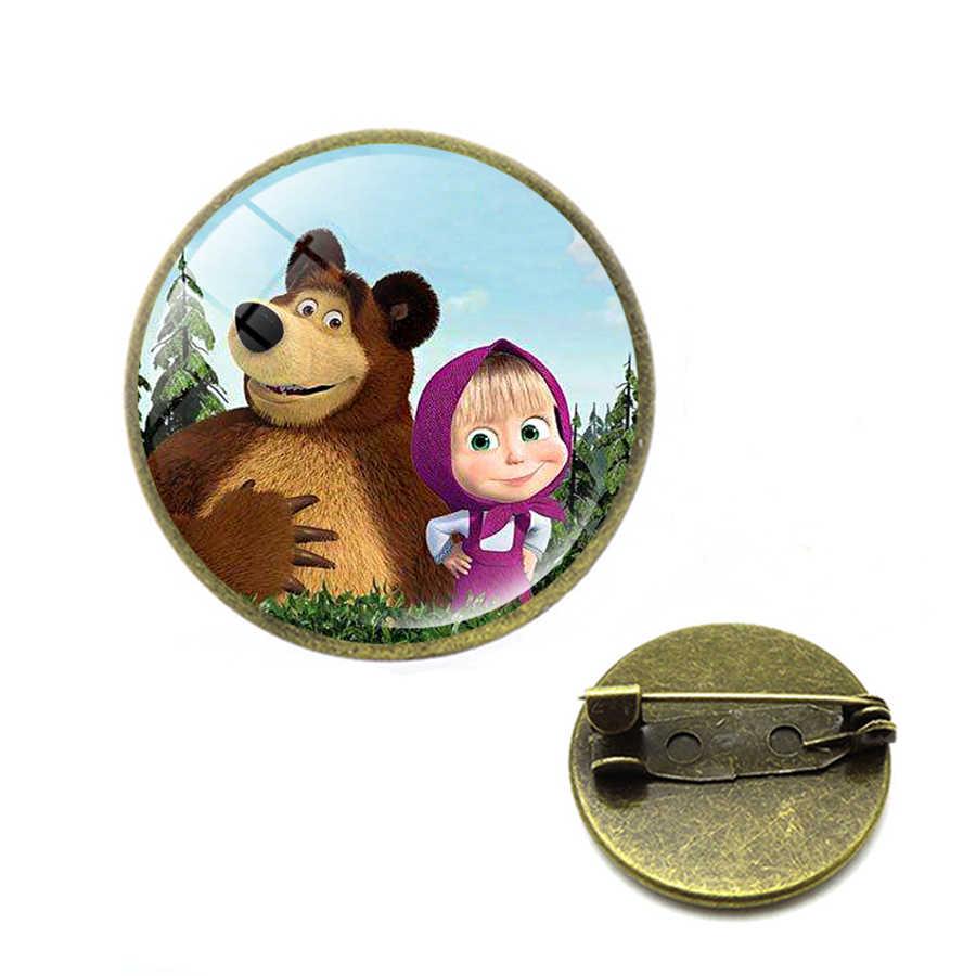 Caldo Del Fumetto di Russia Masha Spille Regalo Creativo per I Bambini Orso Spilli Di Natale Spille Gioielli per le Donne I Bambini Regalo Para Navidad