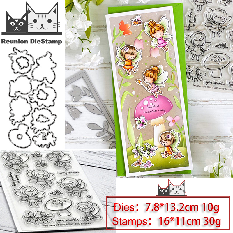 Reunion Bee Fairy Metal Cutting Dies and Stamps Stencil for DIY Scrapbooking Photo Album Embossing Decorative Paper Card