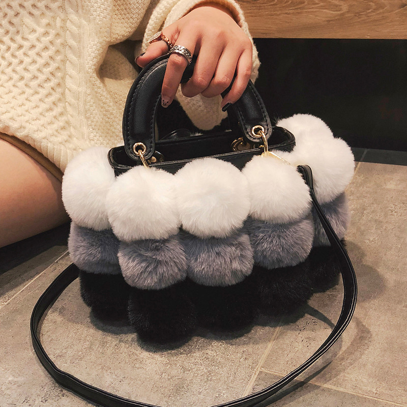 HISUELY Winter Faux Fur Luxury New Ladies Cute Tote Bag Women Designer Handbag Hair Ball Shoulder Messenger Bags Bolsos Mujer