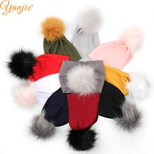 2021 New Arrival Winter Faux-Fur Ball Wide Bullet Fabric Baby Headband Wholesale Textured