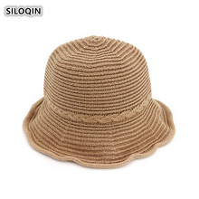 SILOQIN  New Summer Autumn Womens Fashion Bucket Hat Panama Ladies Cap Foldable Sunscreen Sombreros Leisure Tourism Beach Hats