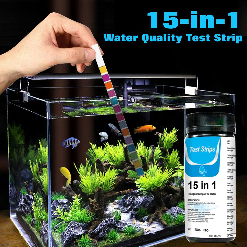 15-in-1 Water Test Strip For Checking Water Quality Test Aquarium Fish Tank Pool Water Drinking Water Test Strip PH Bromine