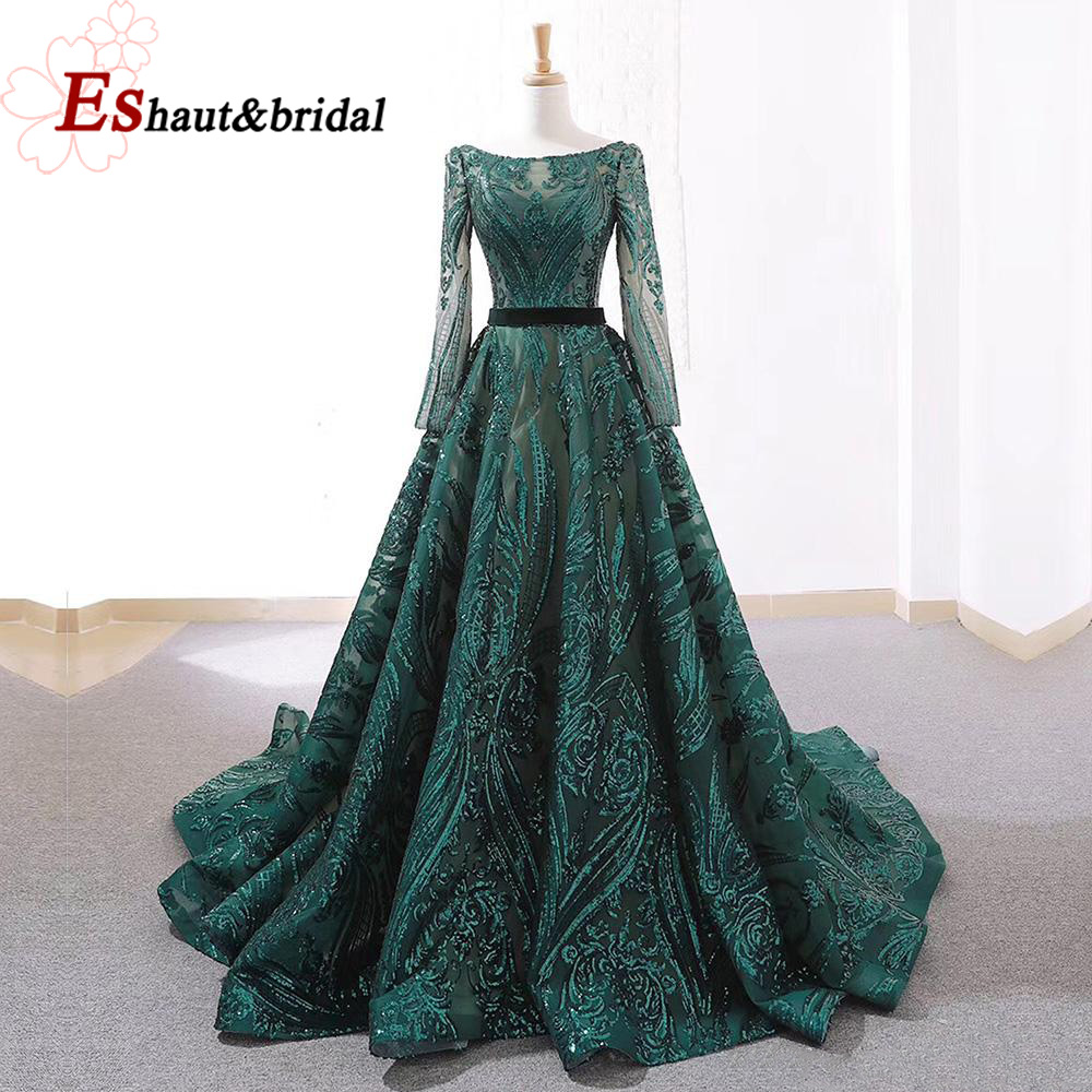 Dubai A-Line Luxury Evening Dress Muslim 2019 Vintage Long Sleeves Sequins Sparkle Prom Party Gowns