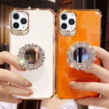Electroplate 3D Glitter Bling Rhinestone mirror Bracket soft phone case for iphone 12 PRO MAX cover