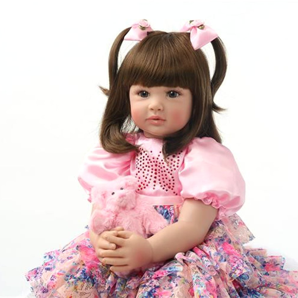 60CM high quality reborn <font><b>toddler</b></font> <font><b>princess</b></font> girl doll Silicone vinyl adorable Lifelike Baby lovely best toys and gift for children image