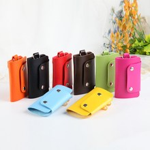 Hot Sale Car Keychain Key Holder Bag PU Leather Housekeeper Holders Keychain Case Wallet Cover(China)