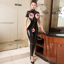 Sexy Hollow Leather Glitter Turtleneck Rompers Women PVC Sho