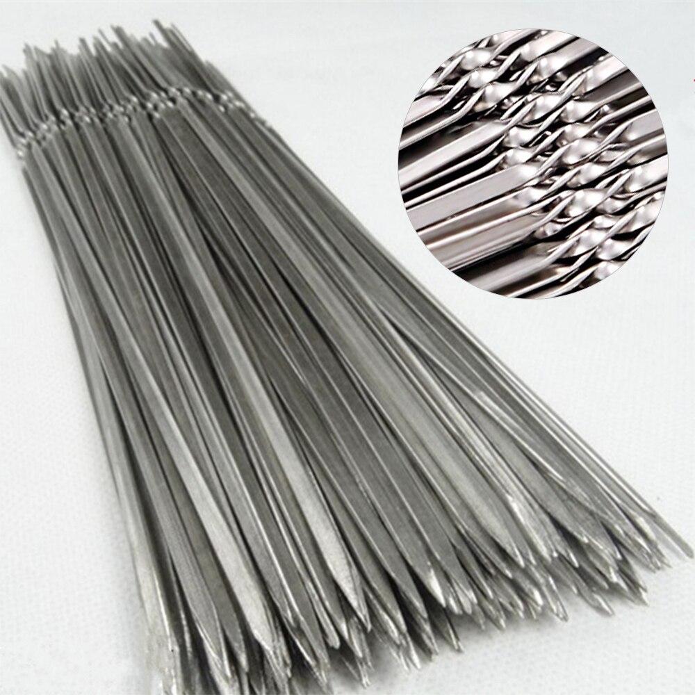 100шт многоразовые плоские нержавеющая сталь барбекю шампуры барбекю игла палка для на открытом воздухе кемпинг пикник инструменты кулинария инструменты
