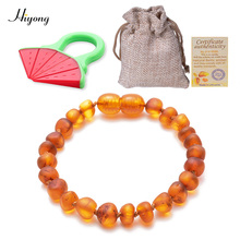 Cognac Amber Baby Teething Bracelets Anklets Certified Authenticity Genuine Natural Baltic Beads for Boys Girl