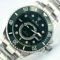 Bliger 43mm green dial white beads black and green ceramic Bezel Sapphire Stainless steel case Luminous Automatic men Watch