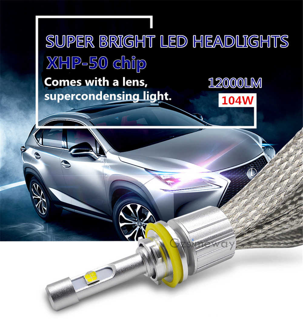 2PCS Car bulb H11 H8 H9 Led headlights H1 H4 HB4 9006 HB3 9005 h3 H7 4300k 6000K xenon white H13 HIR2 D2S D2H 104W auto fog lamp