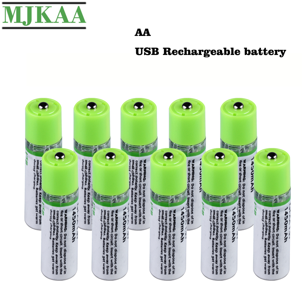 MJKAA 5/10PCS <font><b>AA</b></font> <font><b>1.2V</b></font> 1450mAh USB Rechargeable <font><b>Battery</b></font> Quick Charging Li-po High Quality 2A <font><b>Batteries</b></font> Bateria RoHS CE image