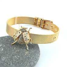 Luxo arco-íris zircônia cúbica animal joaninha pulseira masculino e feminino pulseira de aço inoxidável banda jóias presente