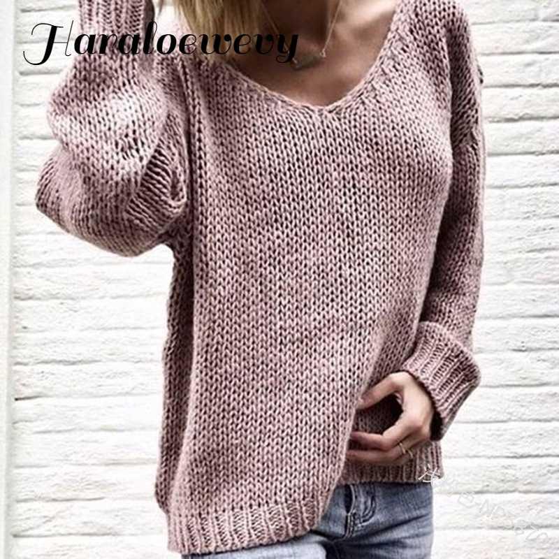 2019 V คอสีชมพูผู้หญิงเสื้อกันหนาว Pullovers หลวมถักฤดูใบไม้ร่วงฤดูหนาวเสื้อผ้าสบายๆพลัสขนาดดึง Femme
