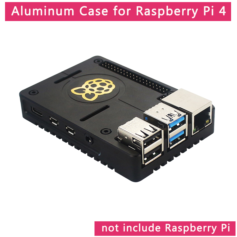 Raspberry Pi 4 Aluminum Alloy Case Ultra-thin CNC Metal Shell Passive Cooling Black Enclosure Box For Raspberry Pi 4 Model B
