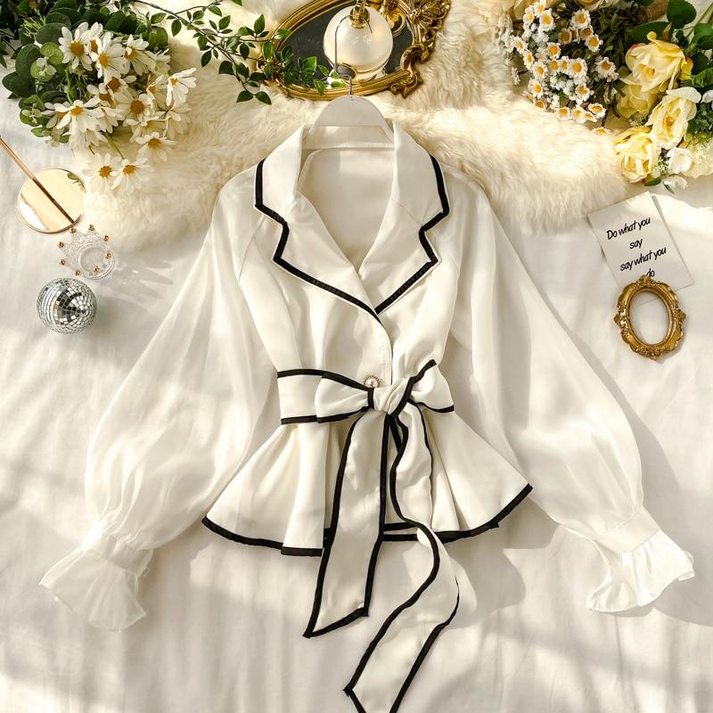 MUMUZI OL Blouses French Retro Suit Collar Chiffon Shirt Female Design Contrast Color Tie Waist Lotus Leaf Tops