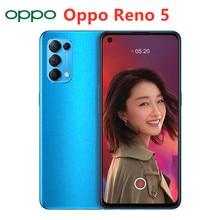 Original Oppo Reno 5 5G Smart Telefon 64MP 65W Super VOOC Ladegerät 6,43 OLED Bildschirm 4300mAh Batterie handy