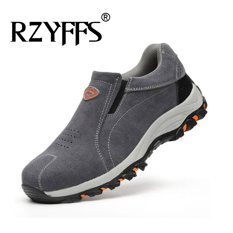 Mens Hiking Shoes Outdoor Boots Slip on Camping Boots Rubber Women suede Leather Mountain Climbing Sneakers HB-17Z image