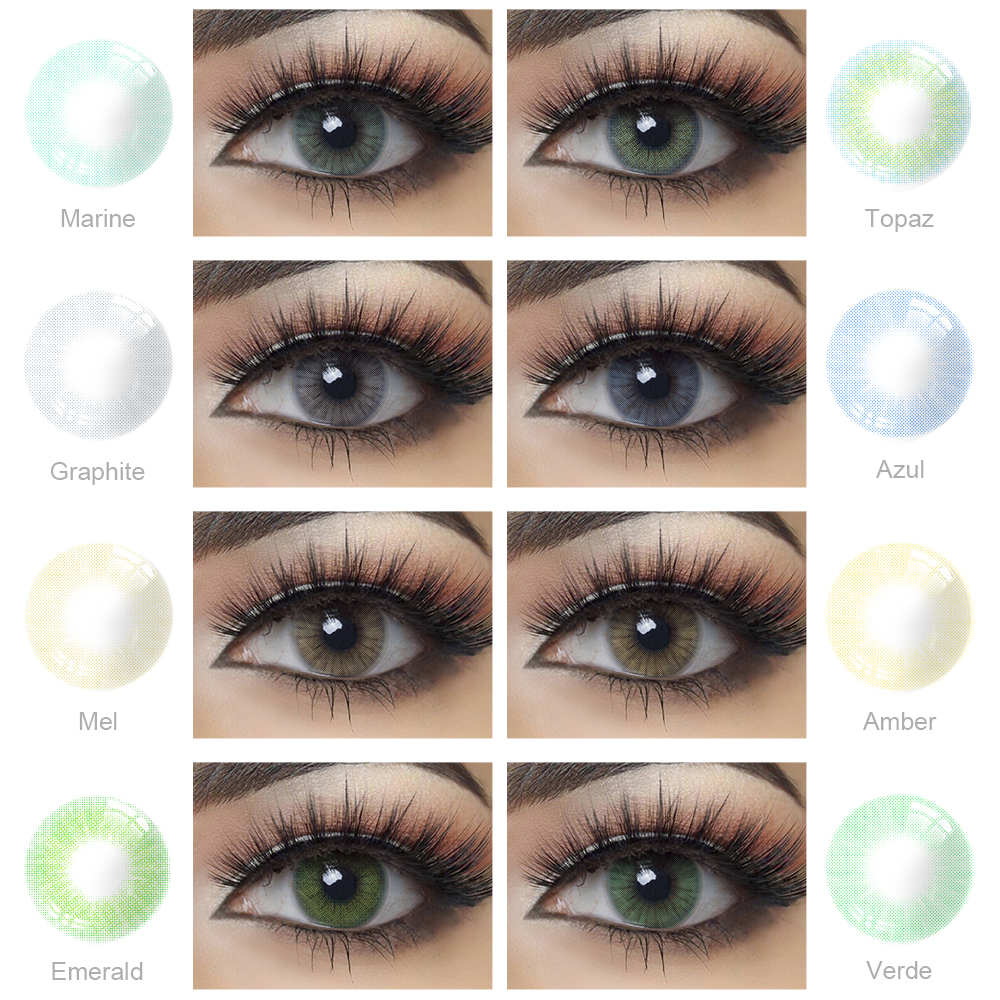 1 Pair Colored Contact Lens for Eyes Beauty Yearly Use Hidrocor Blue Gray Green Eye Colored