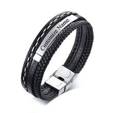 Jewelry Wrap-Bracelets Custom-Name Stainless-Steel Men Braid Handmade Multi-Layer Wholesale
