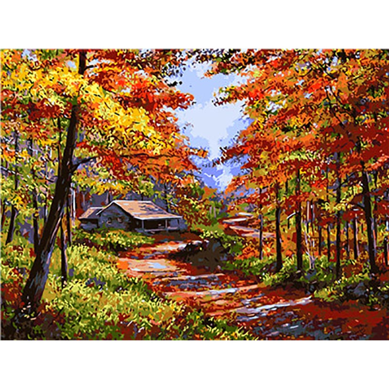 Landscape Painting Coloring By Numbers Paintings Numbers Numbered Pintar Por Numeros Oleo Flowers Pictures Canvas