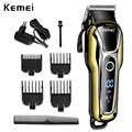 Kemei máquina de cortar cabelo profissional aparador de cabelo para homens barba cortador elétrico máquina de corte de cabelo sem fio com fio 5