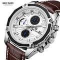 MEGIR Лидирующий бренд с кожаным ремешком  мужские часы  модные спортивные часы с хронографом и календарем  многофункциональные водонепрониц...