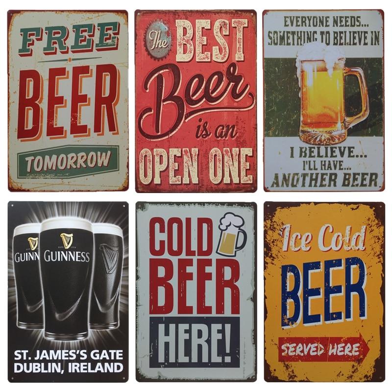 Винная металлическая настенная жестяная вывеска Guinness, винтажные Бесплатные пивные вывески, ирландский паб, кафетерий, кухонный декор, поте...
