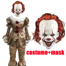 Hot Movie Stephen Kings It Pennywise Cosplay Costume Scary Joker Suit Custom Made Fancy Halloween Masquerade Party Prop