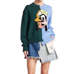 2020 Fall and Winter Hit The Color Patchwork Sweet Pattern Women Loose Woolen Sweater O-Neck Cartoon Embroidery Ugly Christmas