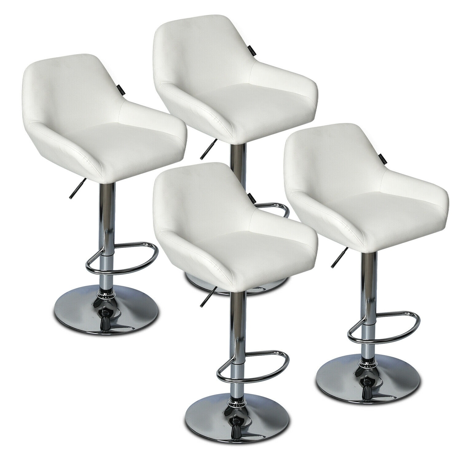 Set Of 4 Bar Stools Adjustable Swivel Leather Counter Pub Kitchen Dining Chairs