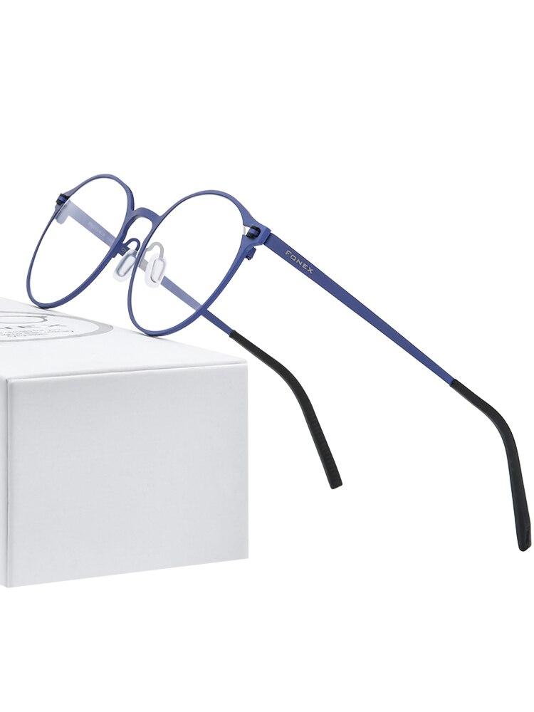 FONEX Prescription Eyeglasses Eyewear Titanium-Glasses-Frame Optical-Screwless Round