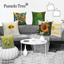 Pillow Cases Cushions-Cover Decorative Sofa Sunflower Colorful Home Scenic for Bed-Plant