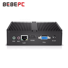 BEBEPC Computer Fanless Mini PC Intel Celeron N2830 N2930 2.16GHz Windows 10 Celeron J1900 4 Core Office HTPC HDMI WIFI
