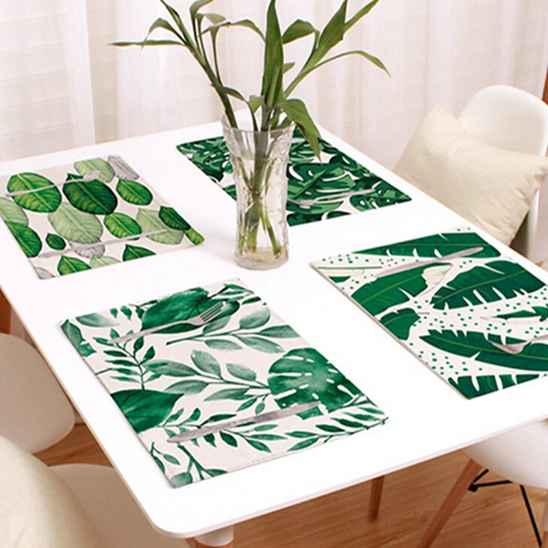 Dining Table Mat Green Leaves Linen Placemat Insulation Dining Table Mat Bowls Coasters Mats Kitchen Decoration