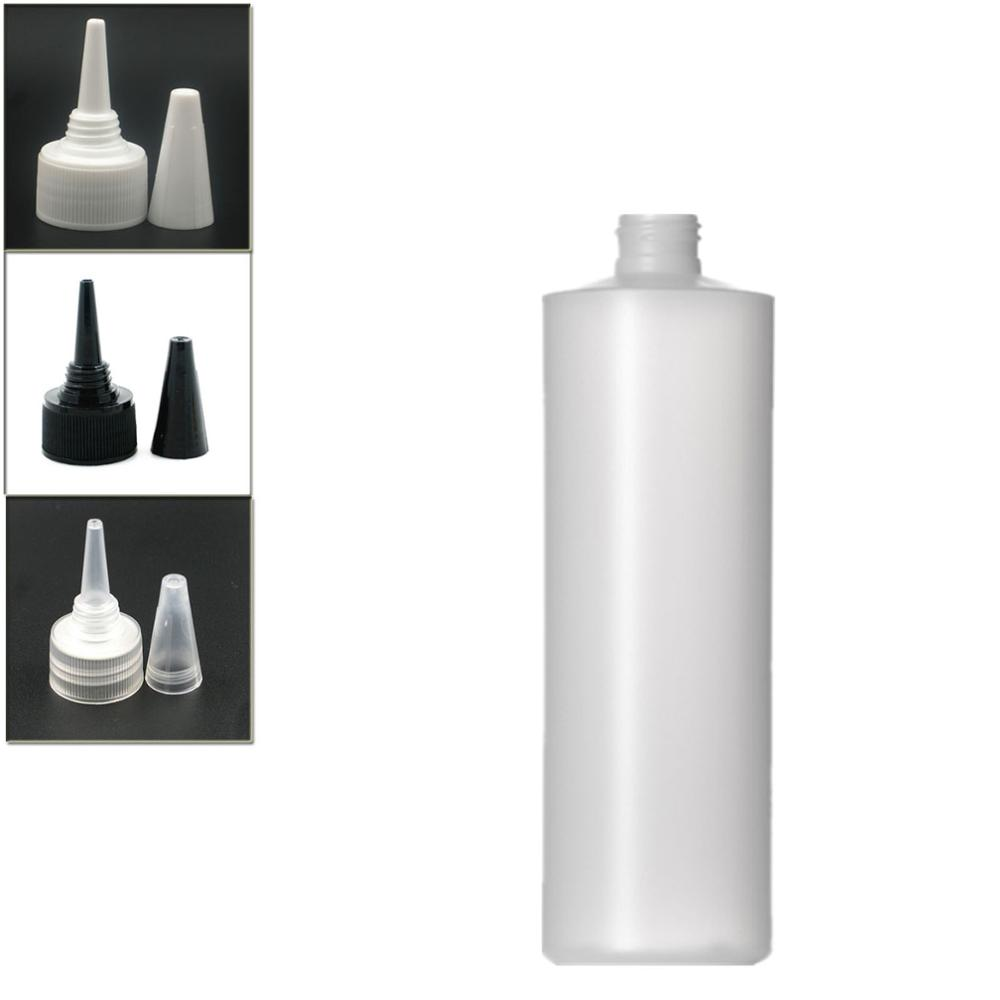 500ml Empty Plastic Soft  Bottle , HDPE Cylinder Round With Black/white/transparent Twist Top Caps, Pointed Mouth Top Cap