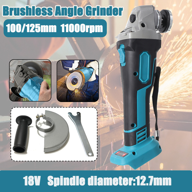 800W 18V 125mm Brushless Cordless Impact Angle Grinder Variable Speed For Makita Battery DIY Power Tool Cutting Machine Polisher