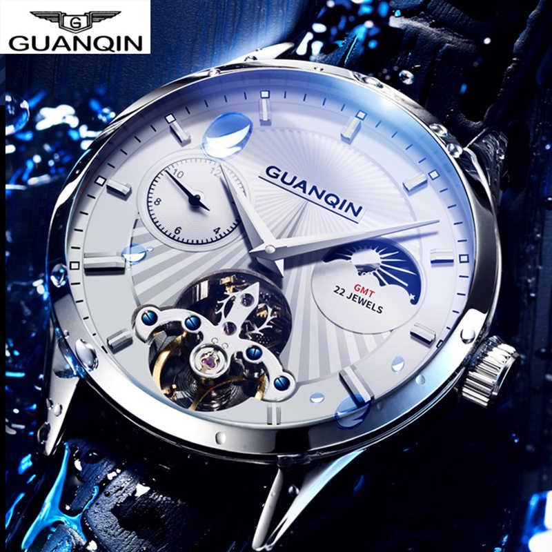 2019 guanqin qualidade tourbillon relógio masculino fase da lua automático suíço relógios diesel mecânica transparente steampunk relógio
