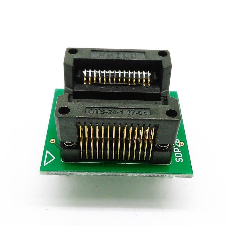 SOP28 SOIC28 SO28 à DIP28 pas 1.27mm largeur du corps IC 7.5mm 300mil OTS-28-1.27-04 prise de test de programmation IC avec adaptateur ZIF