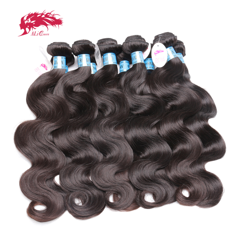 Ali Queen Hair Products Peruvian Hair Weave Bundles 10Pcs/lot Body Wave 100% Human Hair Weaving Natural Color Virgin Hair