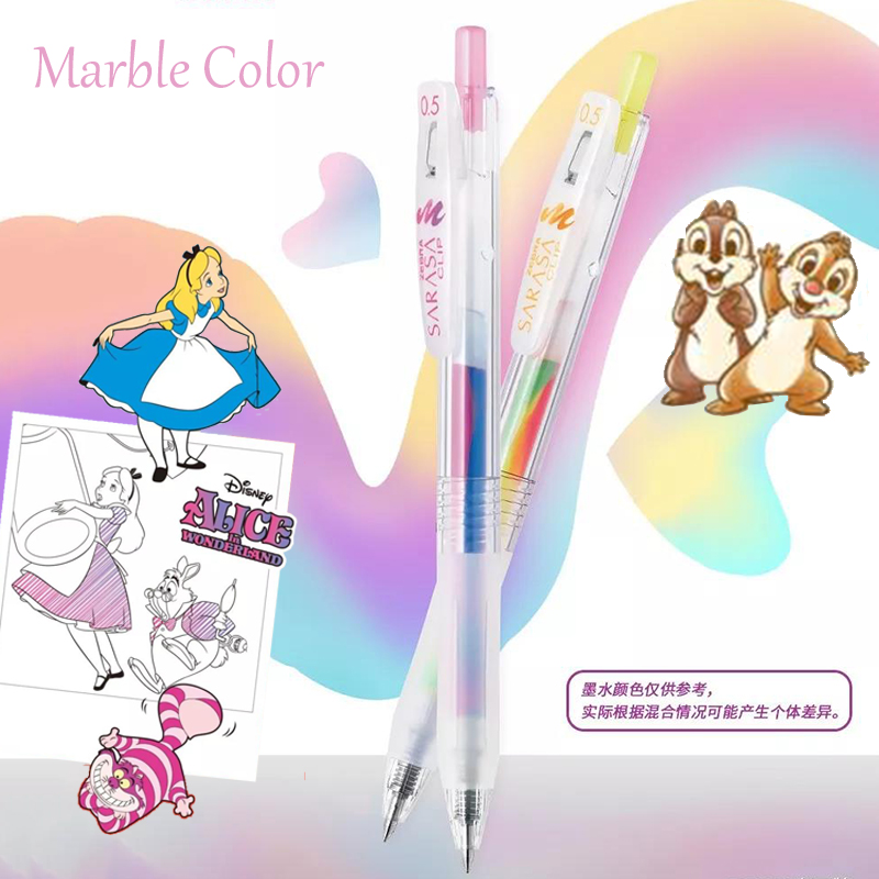 Japanese Stationery Zebra Marble Color Gel Pens 0.5mm Limited Colored Scrapbooking Pen Chip Dale Micky Kawaii School Supplies