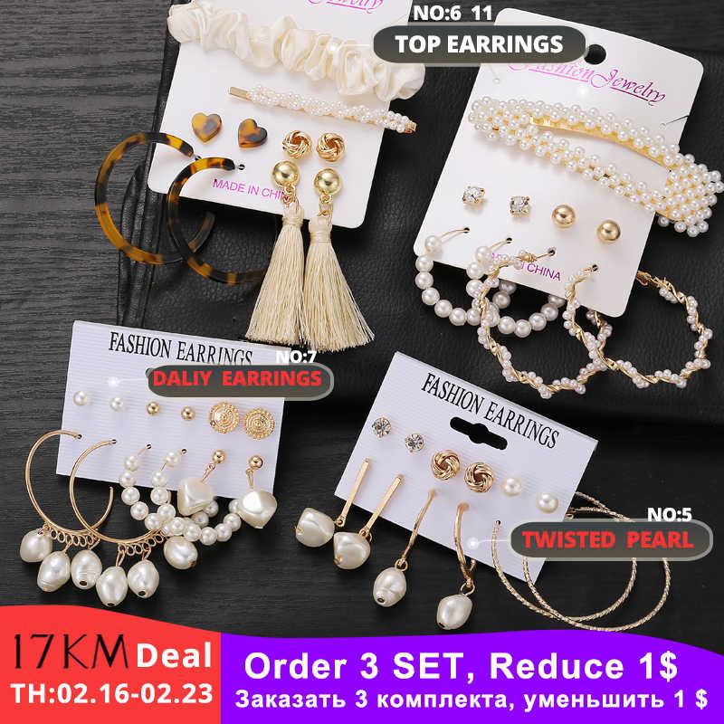 17KM nuevo Vintage conjunto de joyería para mujer chica Bohemia pelo Clips y pines 2020 perla simulada pendientes joyas de oro Brincos