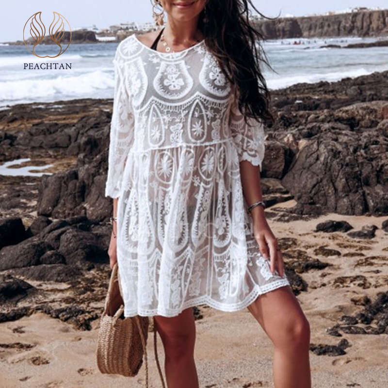 Peachtan Solid White Beach Dress Women 2020 New See Through Swimsuit Cover Ups Female Hollow Out Beach Wear Bathers Bathing Suit