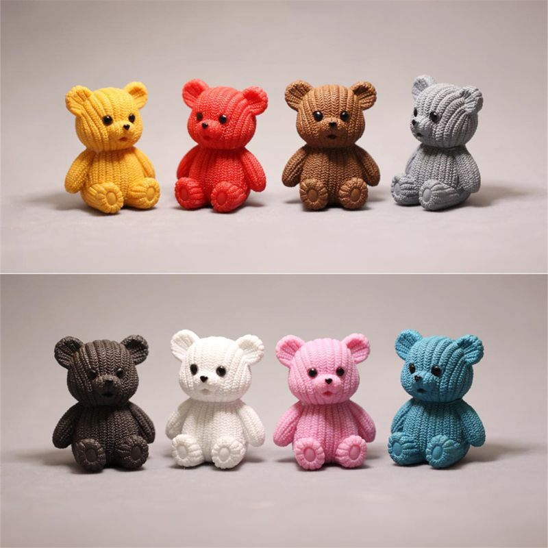 Popular Party Home Decoration Accessories Cute Plastic Tedy Bear Miniature