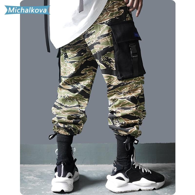 Tiger stripe rua hip hop corredores homens multi-bolso cintura elástica calças de moletom techwear calças streetwear carga michalkova