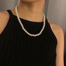 Collier de perles en alliage de métal pour femmes, bijou romantique incrusté, bijou de communion, chaîne cadeau autour du cou