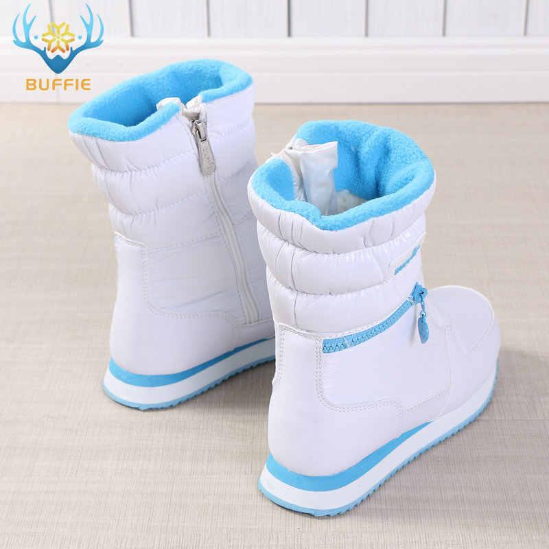 BUFFIE Kışlık Botlar Kadınlar Ladys sıcak ayakkabı kar botu Içinde Karışık Yün Düz Renk Beyaz 2019 Güzel Görünümlü JSH-0767