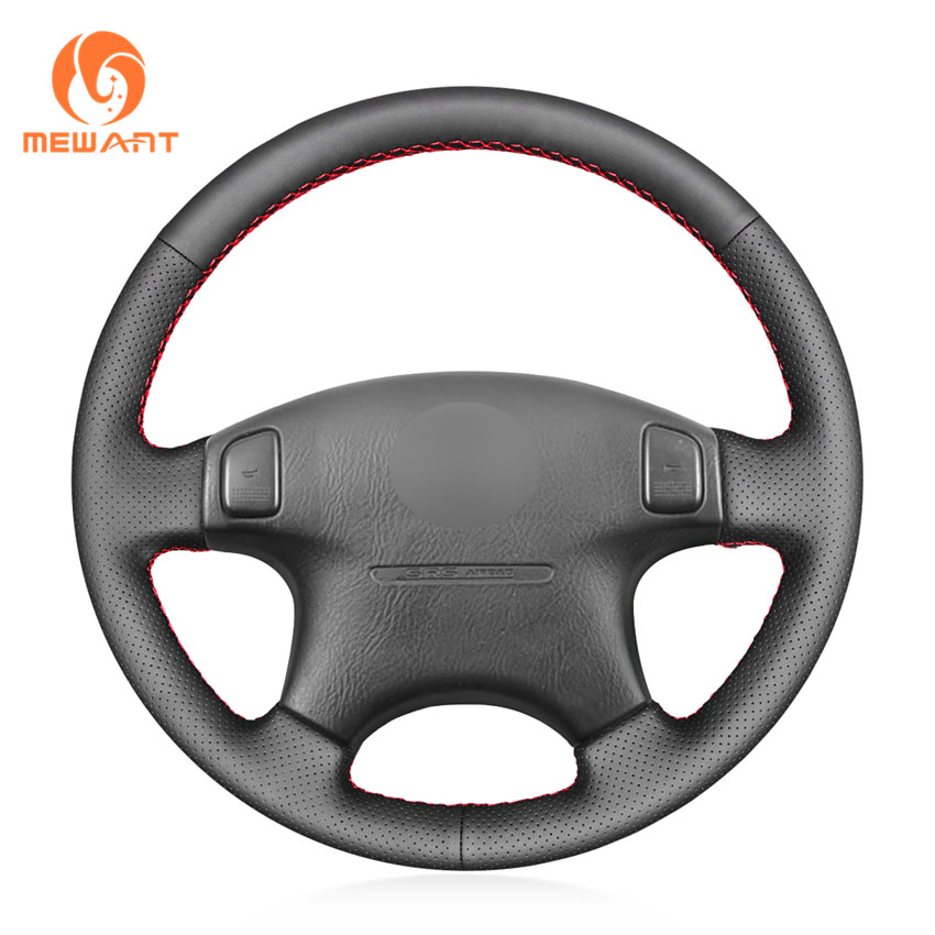 MEWANT Black Genuine Leather Car Steering Wheel Cover for <font><b>Acura</b></font> CL 1998-2003 <font><b>MDX</b></font> 2001-<font><b>2002</b></font> Honda Accord 6 1998- <font><b>2002</b></font> Odyssey image